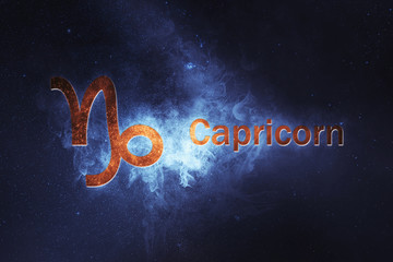 Capricorn Horoscope Sign. Abstract night sky background