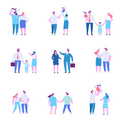 Family together. Members of the family. Flat vector characters isolated on white.