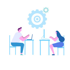 Teamwork. Working together in the company. Brainstorming, searching for new ideas solutions. Flat vector illustration isolated on white.