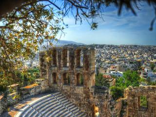 Pan de mur restant de l'Odéon d'Hérode Atticus à l'Acropole d'Athène, Grèce