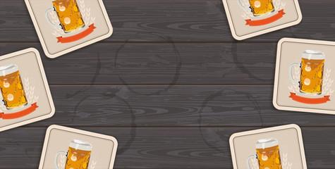 Dark Wooden Background Beer Coasters Centre