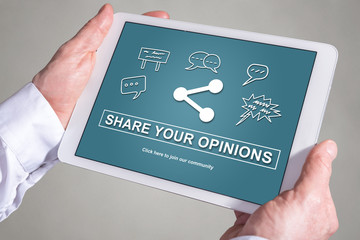Opinions sharing concept on a tablet