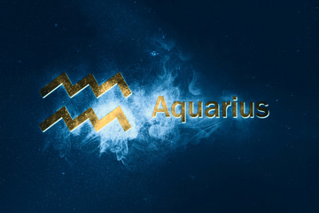 Aquarius Horoscope Sign. Abstract night sky background