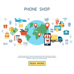 PrintDigital vector line icons set mobile shopping