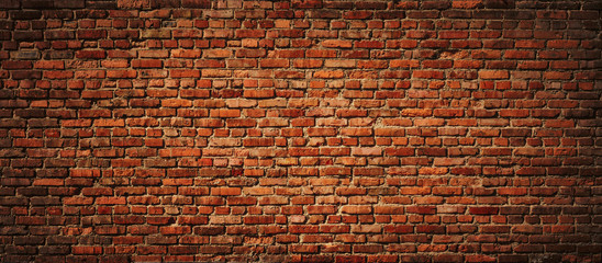 Red Brick wall panoramic view.