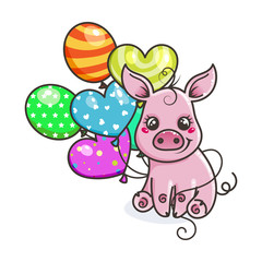 Greeting card with cute cartoon pig
