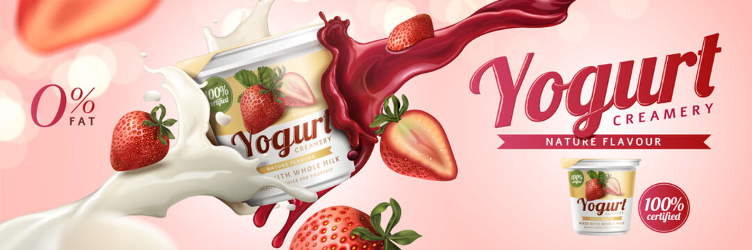 Strawberry yogurt ads