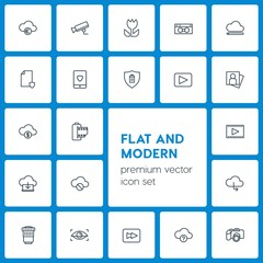 Modern Simple Set of cloud and networking, security, video, photos Vector outline Icons. Contains such Icons as  lens,  background,  abstract and more on dark background. Fully Editable. Pixel Perfect
