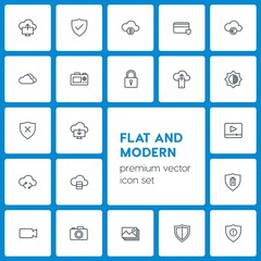 Modern Simple Set of cloud and networking, security, video, photos Vector outline Icons. Contains such Icons as  plastic,  picture, airport and more on dark background. Fully Editable. Pixel Perfect