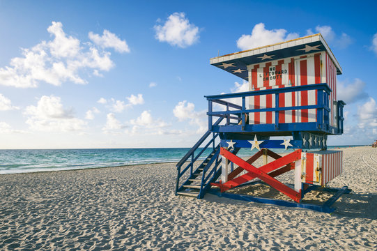 Colorful stars and stripes lifeguard tower on Miami Beach, Florida