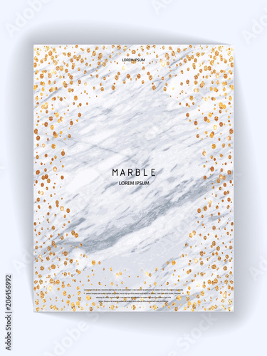 Foil Vector Background Marble Texture Trendy Template For