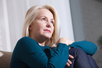 Sad Mature Woman Suffering From Agoraphobia