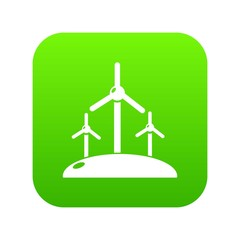 Energy windmill icon green vector isolated on white background
