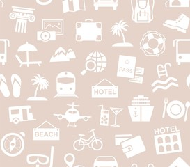 Travel, vacation, tourism, recreation, seamless pattern, monochrome, grey, vector. Different types of recreation and ways to travel. White pictures on the gray-beige field. Monochrome background.