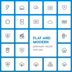 Modern Simple Set of cloud and networking, security, video, photos Vector outline Icons. Contains such Icons as sunny,  safety,  server,  sky and more on dark background. Fully Editable. Pixel Perfect