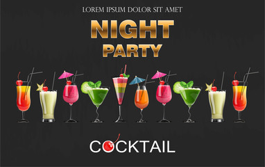 Cocktail drinks Vector realistic banner. Night party template with summer drinks collection. 3d illustrations