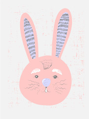 Cute pink bunny in simple childish style , Childish print for nursery, kids apparel,poster, postcard. Vector Illustration