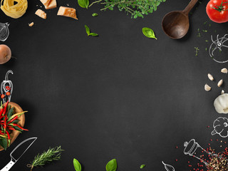 Italian cooking - food ingredients with sketches on blackboard