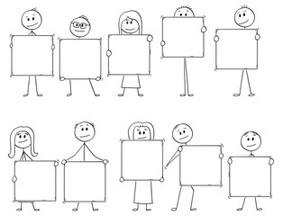 Cartoon stick man drawing conceptual illustration of crowd or team or ten businessmen and businesswomen holding big empty or blank signs for letters or numbers to add your text.