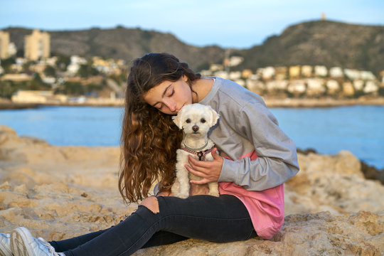 Girl playing with maltichon dog in the beach