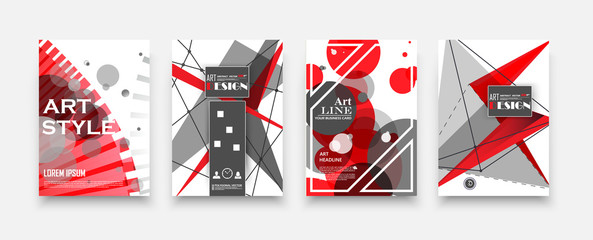 Bright colored book binder. Brochure cover design. Title sheet model set. Modern front page art. Red, white, gray, cosmic, info board. Dots, lines plexus, circle, triangles icon. Ad flyer text font