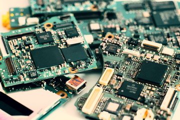 semiconductor on electronic circuit board. technology background..