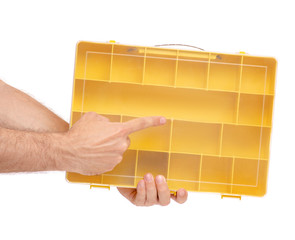 Organizer for build tools in hand on white background isolation