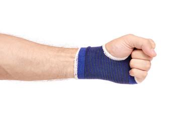 Bandage on the wrist from stretching on white background isolation