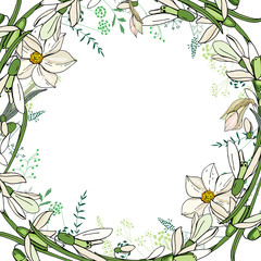 Round garland with spring flowers daffodils and and small blue flowers.
