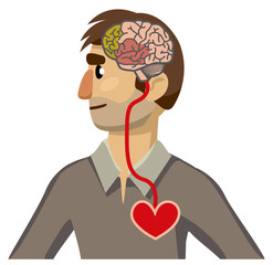 Portrait of a man in profile. Brain-heart connection