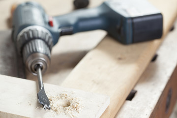 flat wood drill. carpenter. copy space