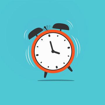 Wake up time illustration. Red old retro ringing clock