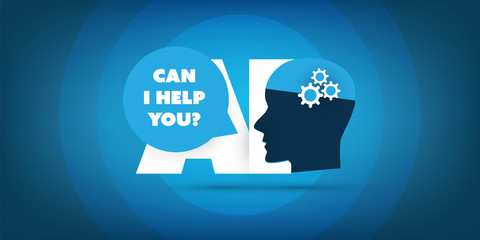 Can I Help You? - AI Assistance, Automated Support, Digital Aid, Deep Learning and Future Technology Concept Design with Human Head - Vector Illustration