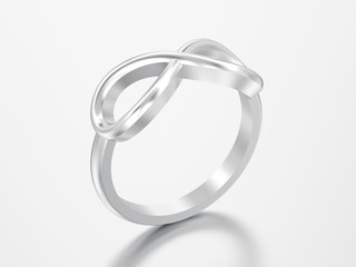 3D illustration silver simple infinity ring