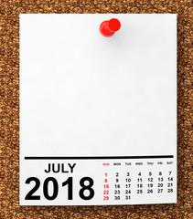 Calendar July 2018. 3d Rendering