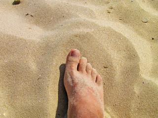 Foot on sea sand, Vacation on ocean beach, Summer holiday.