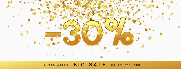 Discount voucher template design with gold confetti tinsel. Coupon card, sale banner template. 30% percent Vector illustration