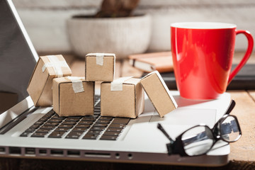 Online internet shopping logistics and delivery concept