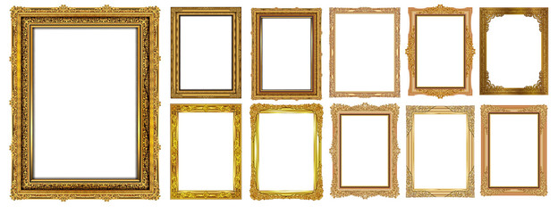 Set of Decorative vintage frames and borders set,Gold photo frame with corner Thailand line floral for picture, Vector design decoration pattern style. border design is pattern Thai art style Wall mural