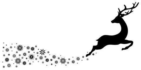 Black Reindeer Flying With Snowflakes