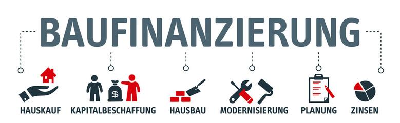 Banner Baufinanzierung Konzept. Vektor Illustration mit Piktogrammen