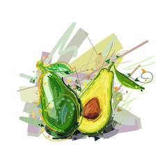 Avocado. Vector illustration of abstract avocado. Stylized avocado for your design