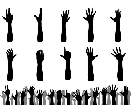Silhouettes of hands up