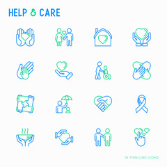 Help and care thin line icons set: symbols of support, help for children and disabled, togetherness, philanthropy and donation. Modern vector illustration.
