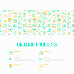 Organic products concept with thin line icons: corn, peas, raw cafe, broccoli, grapes, sprouts, seaweed, watermelon, bananas, fresh juice. strawberry. Modern vector illustration for vegetable shop.