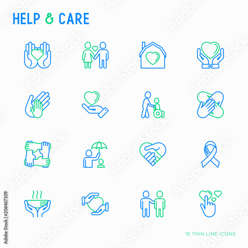 Help And Care Thin Line Icons Set Symbols Of Support Help For