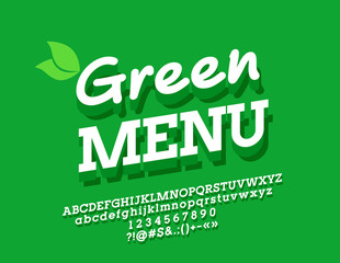 Vector Bio Logo Green Menu. Bright 3D Font. Alphabet Letters, Numbers and Symbols for Ecological friendly Text