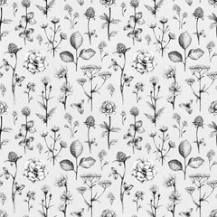 Wild flowers drawings. Seamless pattern