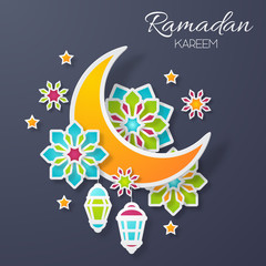 Ramadan kareem design background. Paper cut flowers, traditional lanterns, moon and stars. Vector illustration.