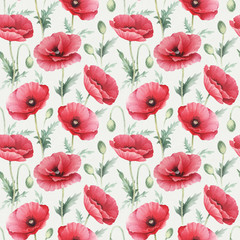 Watercolor illustrations of poppy flowers. Seamless pattern